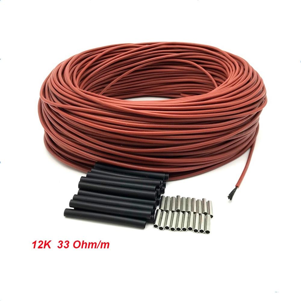 12K 33ohm/m нагревательный кабель из углеродного волокна 10/15/20/30/50/100 м теплый провод для обогрева пола