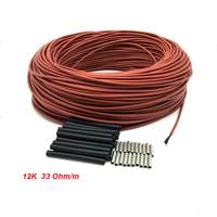 Cable calefactor de fibra de carbono, 12K, 33ohm/m, 10/15/20/30/50/100m, Cable calefactor de suelo cálido