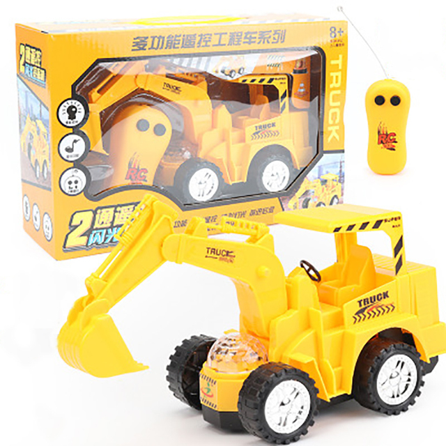 Mini Trucks Toy Remote Control Bulldozer Engineering Car Excavator Model Vehicle Toys For Children Boys Gift