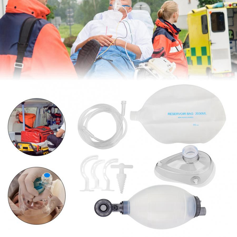 Silica Gel Adult Manual Simple Breathing Apparatus Resuscitator Ambu Bag First Aid Kit Tools Oxygen Machine