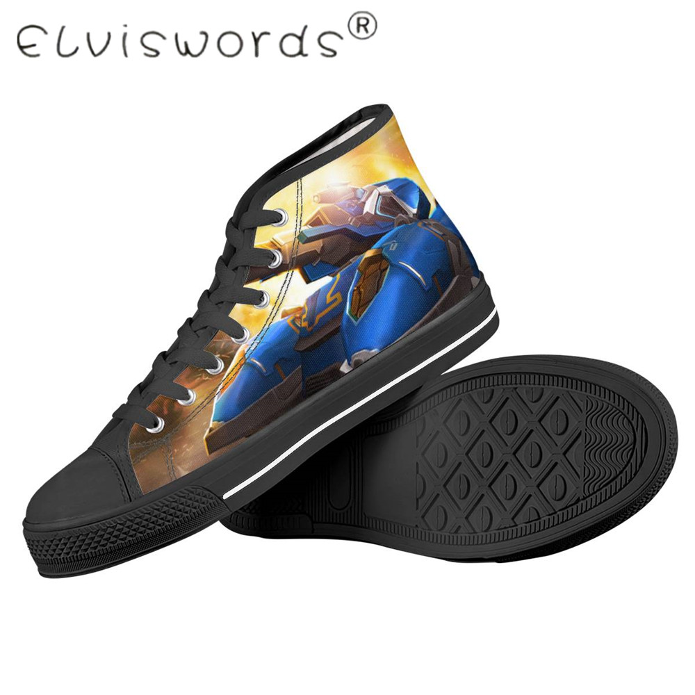 Hot Sale ELVISWORDS 2020 Men's Vulcanized Shoes Brand High Quatily World Of Tanks Printed Shoes Summer Outdoor Sneakers Boy Lace-UP Flats