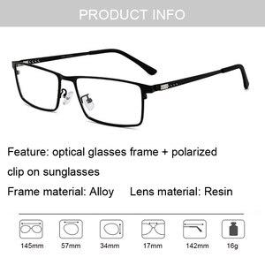 Image 5 - Optik gözlük çerçevesi erkekler kadınlar güneş gözlüğü üzerinde klip polarize manyetik gözlükleri erkek miyopi gözlük tam Metal