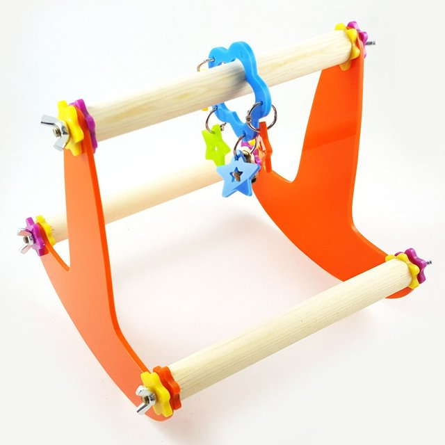 Bird Wood Swing Perch Toy for Parrot Parakeet Cockatiel Conure Cockatoo Macaw Lovebird Finch Canary Budgie Cage Stand 1