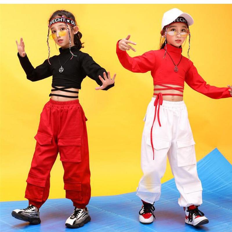 Children Hip Hop Clothing Red Black Sweatshirt Tops Crop Casual Pants For Girl Jazz Dance Costume Ballroom Dancing Clothes Wear