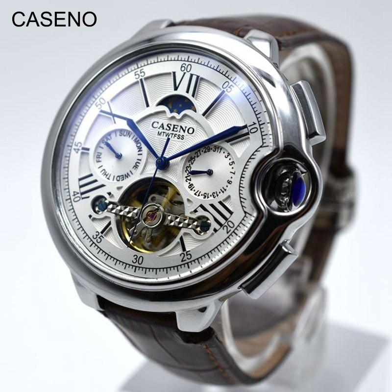 Tourbillon Herren Uhr Top Marke Luxus Gürtel Uhr Männer Automatische Mechanische Armbanduhr Skeleton Sport Männlich Uhren relogio CASENO-in Mechanische Uhren aus Uhren bei  Gruppe 3