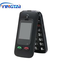 YINGTAI T22 GSM MTK Большой кнопочный телефон для пожилых людей с двумя сим-карты, двойной Экран Флип Мобильный телефон для пожилых 2,4 дюймов раскладушка для мобильного телефона