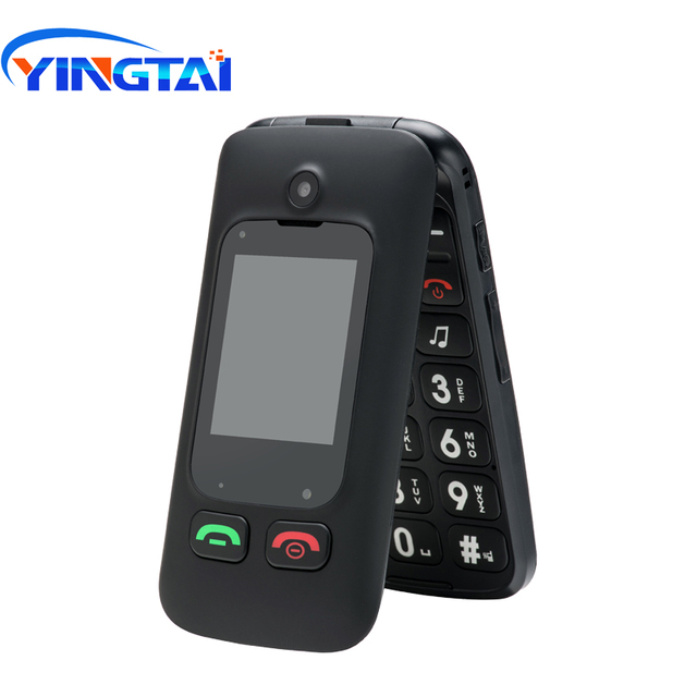 YINGTAI T22 GSM MTK Big Push Button senior phone Dual SIM Dual Screen Flip mobile phone for elder 2.4 inch Clamshell CellPhone