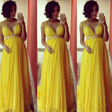Evening-Dresses Short-Sleeves Chiffon Party Long Yellow Pregnant-Maternity Prom-Gowns