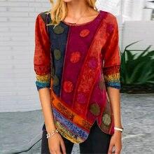Retro impresso botão lateral irregular camisa 2020 outono elegante o pescoço retalhos topo outono manga longa blusas femininas pulôver 5xl