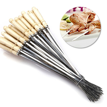 Grill-Fork Cooking-Tool Bbq-Needle Wooden-Handle Meat-String Barbecue Stainless-Steel