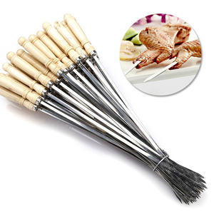 Grill-Fork Bbq-Needle Wooden-Handle Barbecue Stainless-Steel Outdoor Cooking-Tool Meat-String