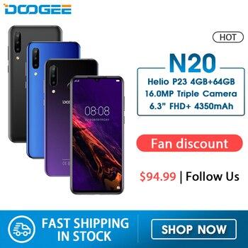 Купить DOOGEE N20 мобильный телефон с отпечатком пальца 6,3 дюйма FHD + дисплей 16 МП Тройная задняя камера 64 ГБ 4 ГБ MT6763 Восьмиядерный 4350 мАч мобильный телеф...