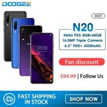 DOOGEE N20 هاتف محمول بصمة 6.3 بوصة FHD + شاشة 16MP كاميرا خلفية ثلاثية 64GB 4GB MT6763 ثماني النواة 4350mAh هاتف محمول LTE