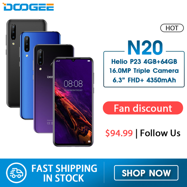 DOOGEE N20 Mobilephone טביעות אצבע 6.3 אינץ FHD + תצוגת 16MP לשלושה חזרה מצלמה 64GB 4GB MT6763 אוקטה Core 4350mAh נייד LTE