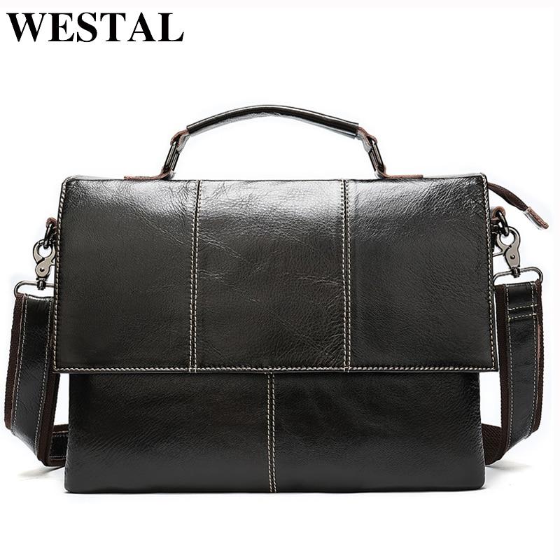 WESTAL męska teczka torebka męska prawdziwej skóry torba na laptop biznes dużego ciężaru dla kobiet biuro dokumentów przenośny laptop torba na ramię w Torby z uchwytem od Bagaże i torby na  Grupa 1
