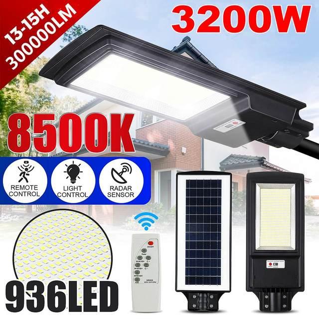 3200W LED Solar Street Light IP65 436/936LED 8500K Light Radar Motion Sensor Wall Timing Lamp Remote Control for Garden Outdoor 1
