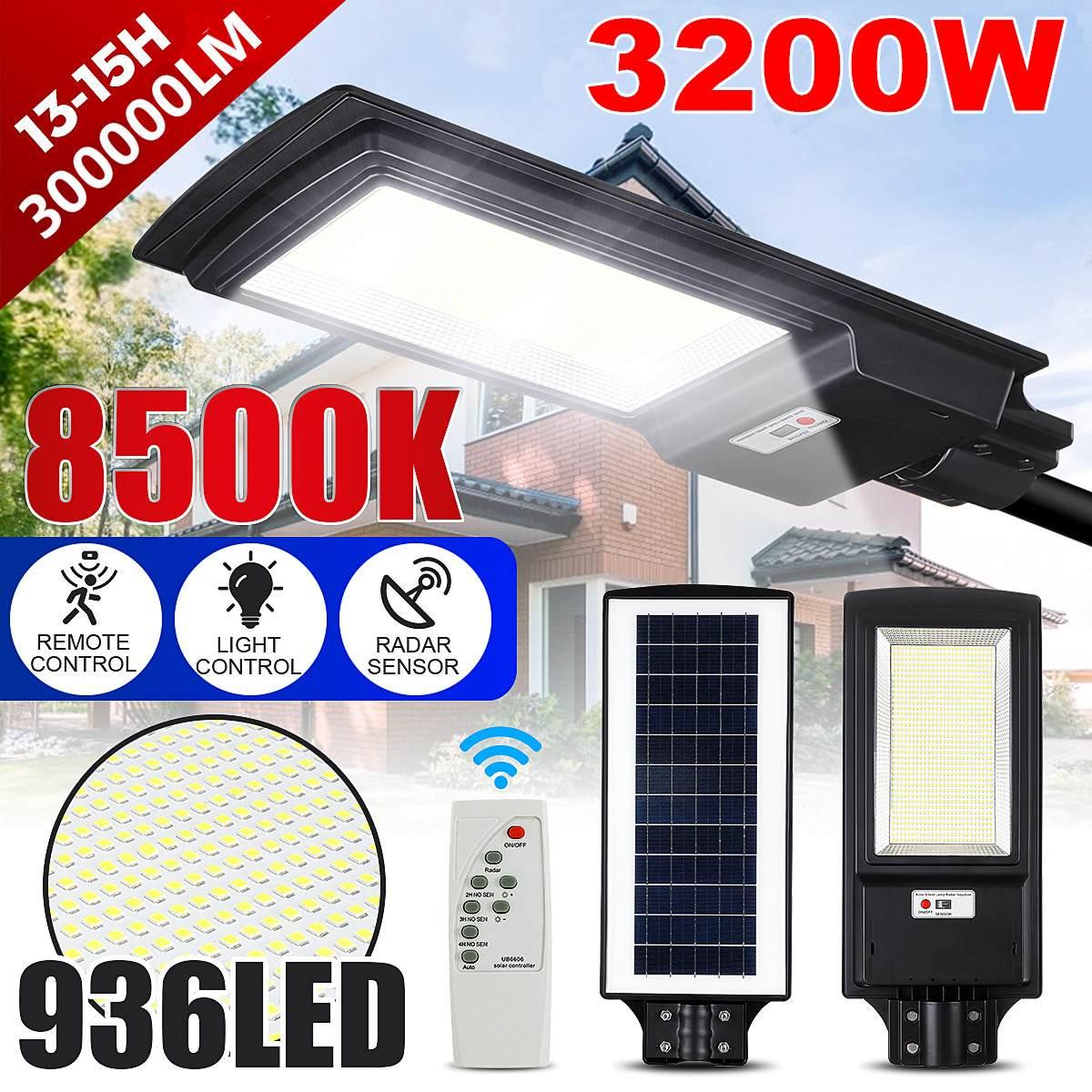 3200 Вт Светодиодный уличный фонарь на солнечной батарее IP65 436/936 светодиодный 8500K Светильник с датчиком движения, настенный светильник с дист
