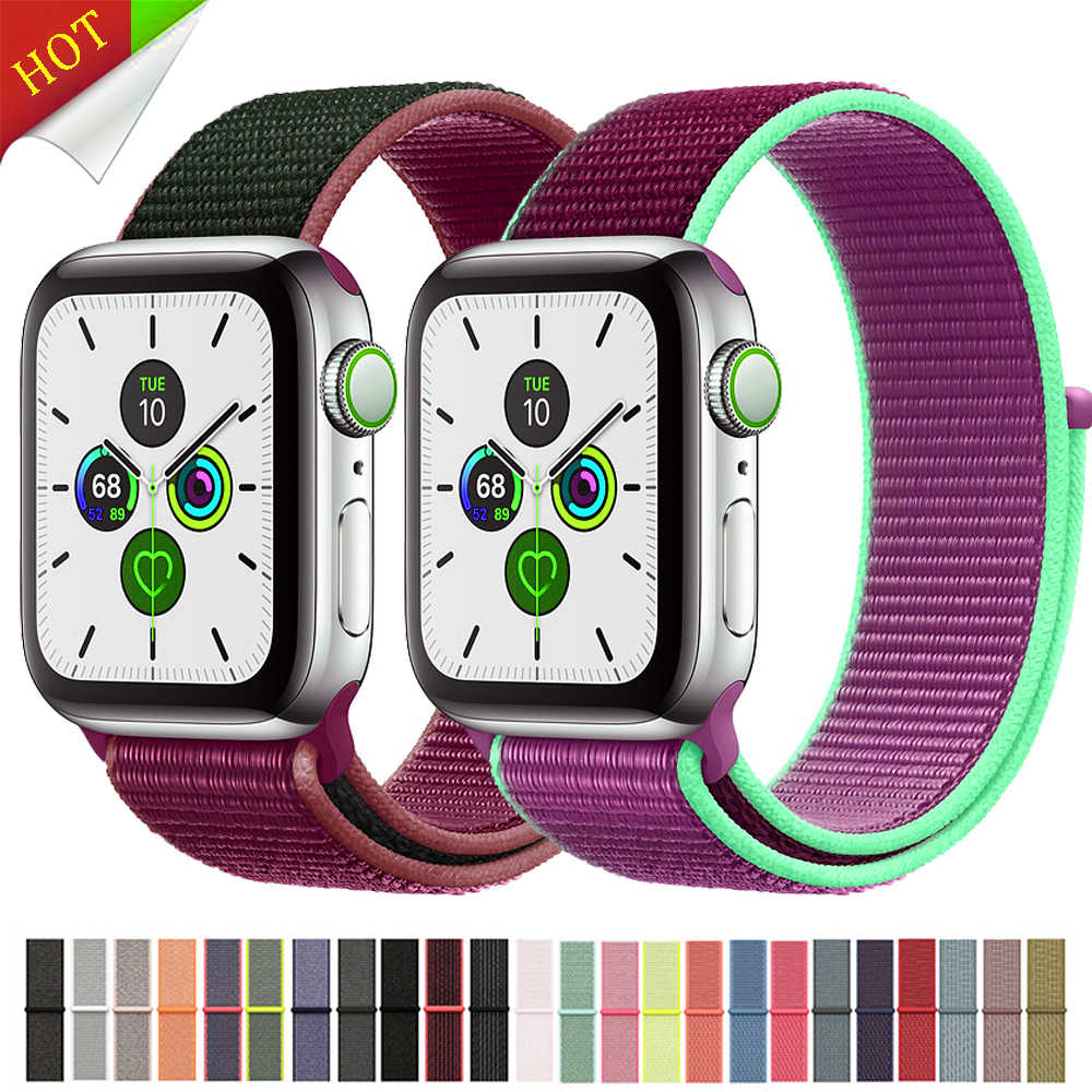 Olahraga Loop Tali untuk Apple Watch Band 44 Mm 40 Mm Apple Watch 4 5 3 2 IWatch Band 42 Mm 38 Mm nilon Correa Gelang Sabuk Jam Tangan