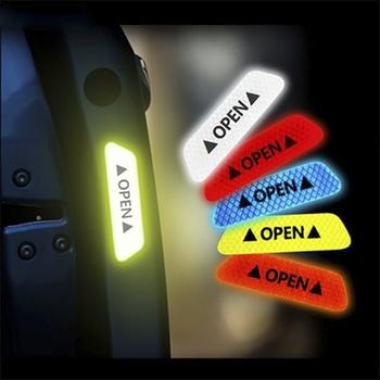 2020 akcesoria samochodowe 4 szt Taśma odblaskowa naklejki na drzwi naklejki samochodowe bezpieczeństwo noc reflektor uniwersalny znak ostrzegawczy pasek odblaskowy tanie i dobre opinie CN (pochodzenie)