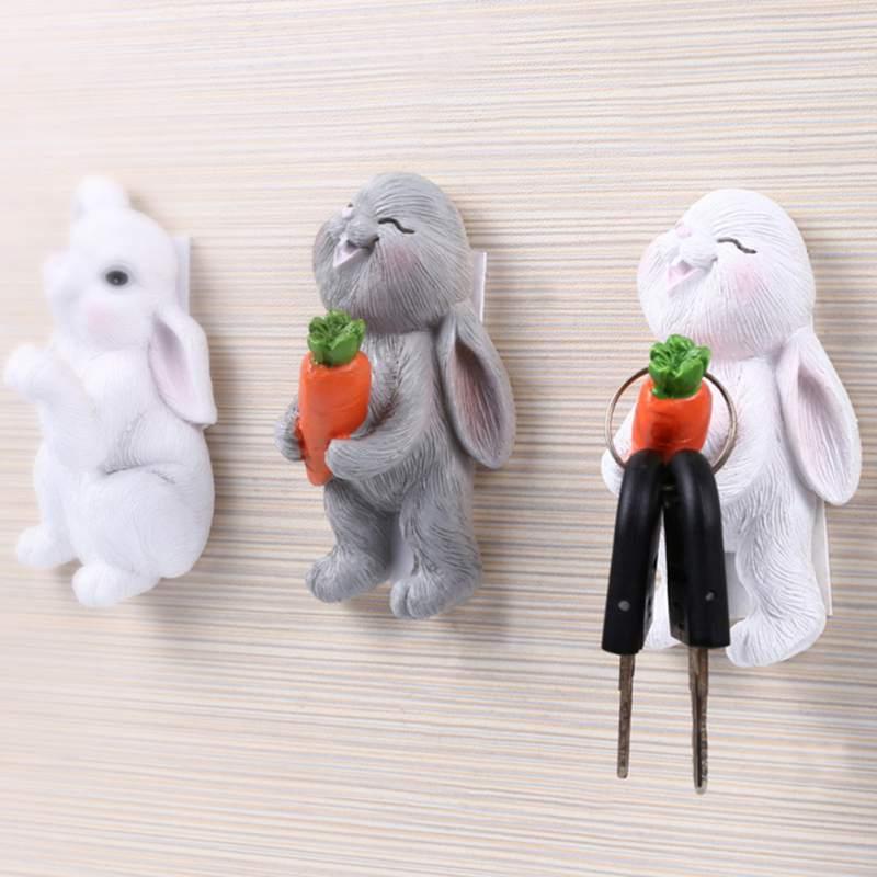 Cute Wall Hook Key Hair Pin Holder Organizer Decorative Organizer Cartoon Rabbit Shaped Holder Organizer  New