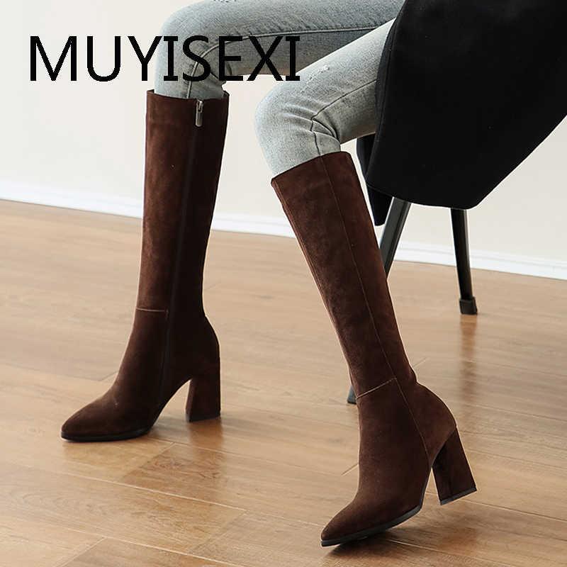 Nâu 8 Cm Vuông Nữ Cao Mùa Đông Giày Mũi Nhọn Đầu Gối Giày Cao Cổ Da Lộn Màu Đen Da Ấm Gợi Cảm Thời Trang LDI10 Muyisexi