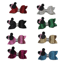 Adogirl 8Pcs/lot Cute Hair Clips For Girls Mouse Bowknot Hairpin Handmade Kids glitter Barrettes Headwear Boutique
