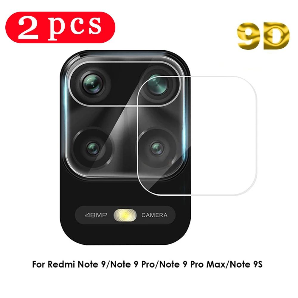 2/1 pces 9d para xiaomi redmi 9 9i 9at 9c 10x nota 6 7 8t 9 pro max 9s 10 câmera filme protetor de tela do telefone vidro