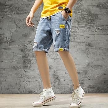 2020 Summer Hole Masculina Vintage Ripped Bike Short Jeans Fashion Streetwear Hip Hop Denim Trouers