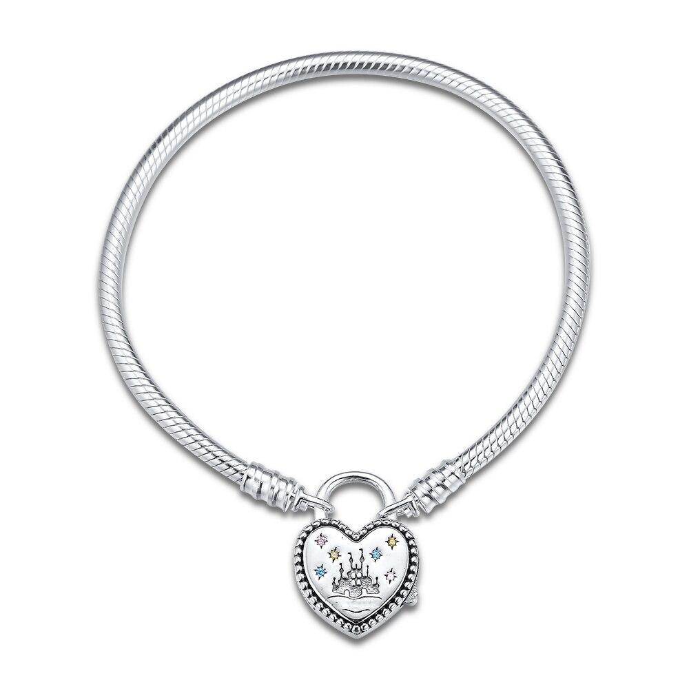 Nuevo Plata Plateado entrelazados Doble Corazón Amor encanto europeo pulsera con dijes de piedra 4