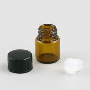 Image 2 - ホット販売 100 × 1 ミリリットルミニアンバーガラスボトルオリフィス減速 & 黒キャップ 1/4 dram小さな不可欠ボトル