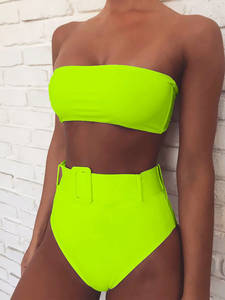 Bandeau Swimsuit Belt Biquini Neon Push-Up Female High-Waist Summer Brazilian Women