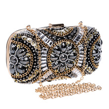 Fashion Beading Evening Party Bags Women Clutch Chic Chains Shoulder Bags Rhinestone Party Bag Clutch Female Messenger Bag Puses miyahouse new fashion leopard small flap bags female clutch bag korean style women chains shoulder bag gitls messenger bags
