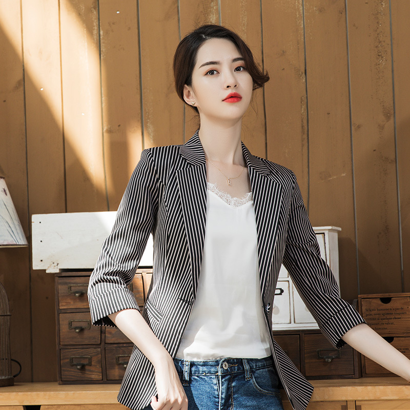 Women's Jacket Large Size S-4XL High Quality Spring And Summer Slim Cropped Sleeves Striped Ladies Blazer Office Jacket Female