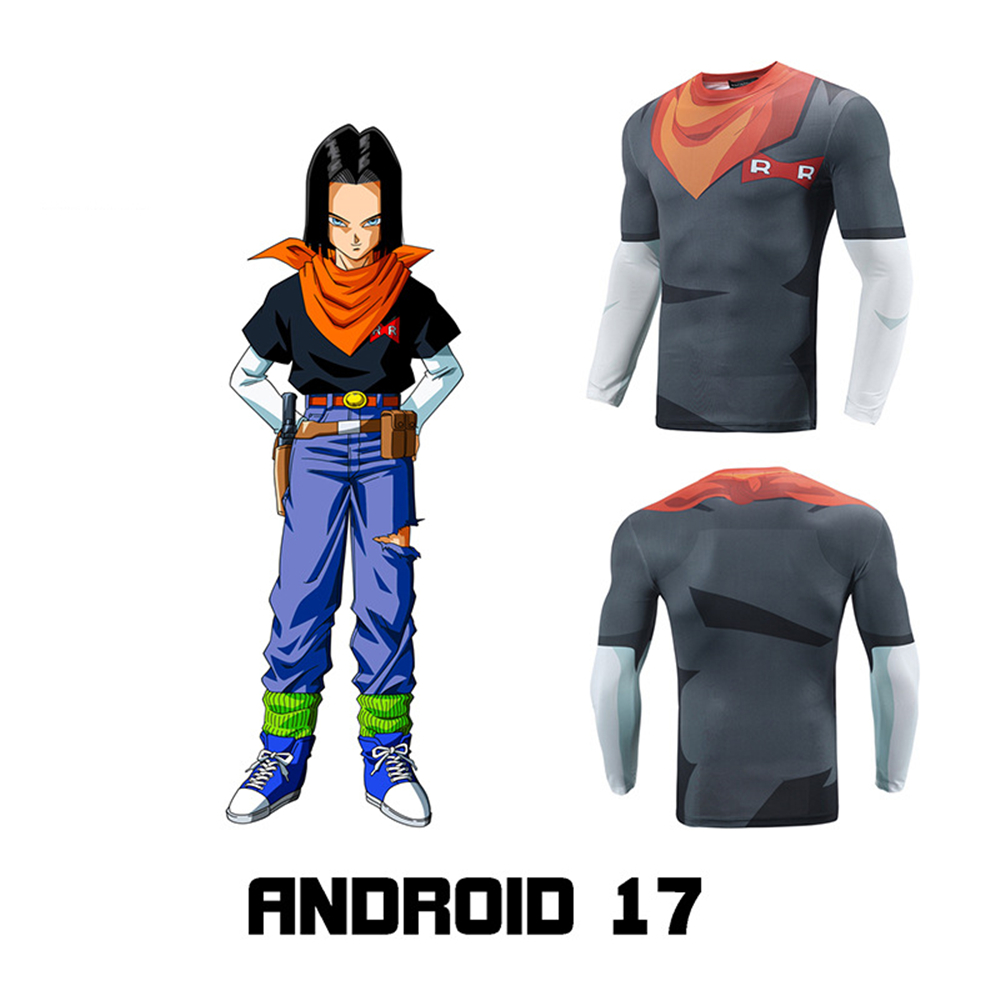 Fitness clothing spring new T-shirt men's Dragon Ball Android 17 3D printing sports tights costume anime cosplayStress Relief Toy