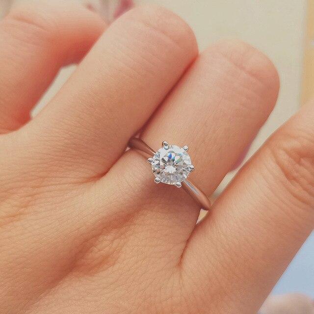 GEM'S BALLET 925 Sterling Silver Moissanite Ring 1ct 2ct 3ct Round Moissanite Diamond Solitaire Engagement Rings For Women 2