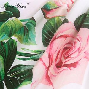 Image 2 - MoaaYina robe styliste, manches bouffantes, imprimé Floral, roses, en coton, pour vacances, printemps été