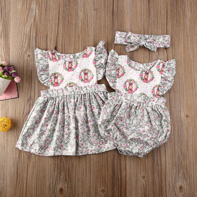 Pudcoco/Детский комбинезон без рукавов с рисунком кролика для маленьких девочек и сестер; комплект летней одежды