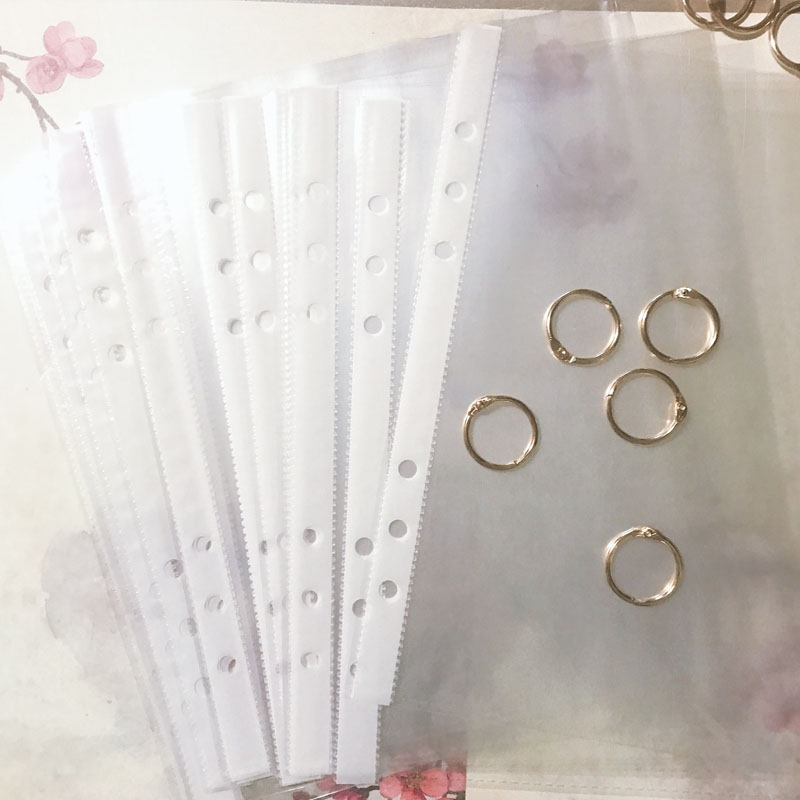 100Pcs A5 Protectors Transparent Office School Quality Clear Plastic Punched Pockets Folders Filing Thin 6Holes Loose Leaf Docum
