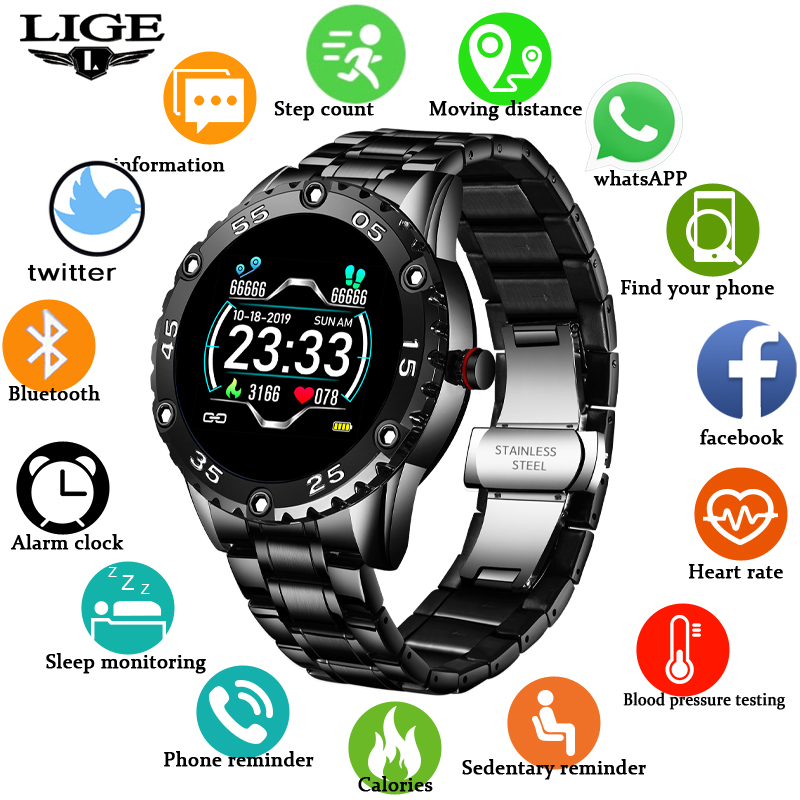 LIGE New Smart Watch men And women Sports watch Blood pressure Sleep monitoring Fitness tracker Android ios pedometer Smartwatch