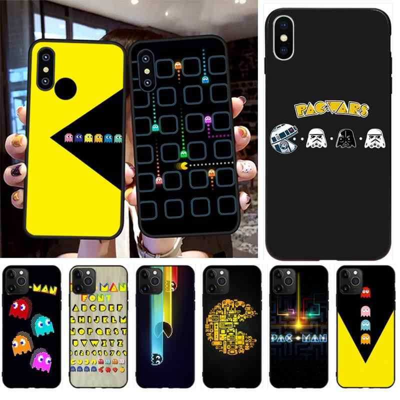 PENGHUWAN game PAC-MAN pac man poster Black TPU Soft Rubber Phone Cover for iPhone 11 pro XS MAX 8 7 6 6S Plus X 5S SE XR case