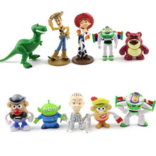 10pcs/lot Toy Story Figure Woody Buzz Lightyear Jessie Rex Mr Potato Head Little Green Men Lotso Mini Baby Toys