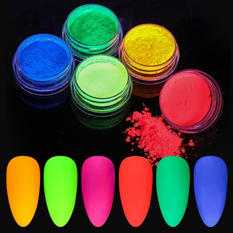 Флуоресцентный порошок для ногтей, 10 г, неон фосфор, красочный пигмент для нейл-арта, долговечный, 3D, светящийся, пылезащитный Декор