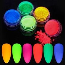 10g fluorescente do pó do prego neon fósforo colorido da arte do prego brilho pigmento duradouro o mais longo 3d brilho decorações luminosas da poeira