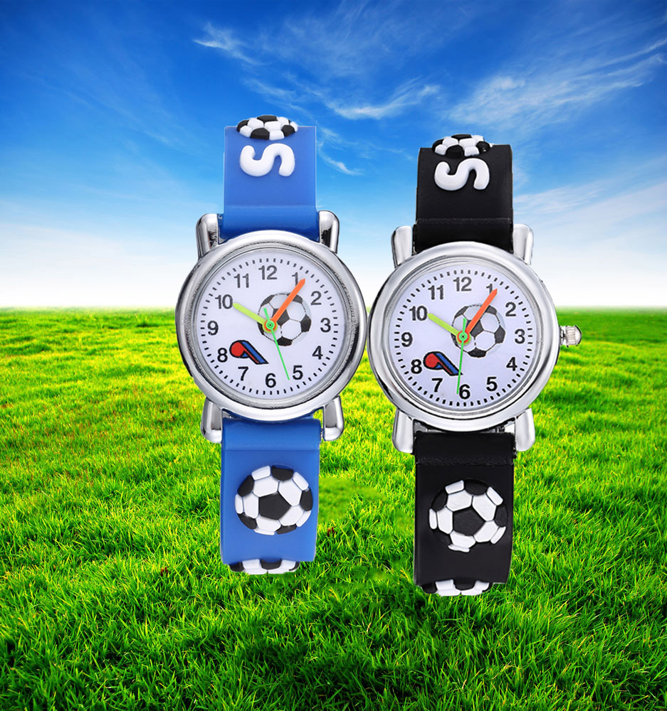 3D Football Silicone Kids Watches Cool Design Cartoon Ball Children Watch Cute Quartz Clock Boys Girls Babys Gift Montre Enfant