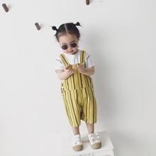 Новые летние Стиль детская одежда в Корейском стиле-Стиль CHIC-Стиль подтяжки в полоску брюки Для мужчин и Для женщин младенцев ребенка детей приостановить