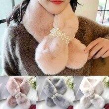 Cross-Scarf Plush-Pearl-Button Fashion-Accessories Winter Women's Thicken
