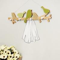 Wooden Wall Clothes Coat Hanger Green Bird Wall Hanging Hook for Living Room Bedroom Bathroom Decoration Clothes Hook Bag Hooks