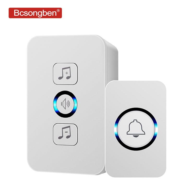 Bcsongben Wireless Waterproof Doorbell 1 Button 1 Receiver 300M Remote Control Smart Home Hotel Wireless Door Ring US Plug