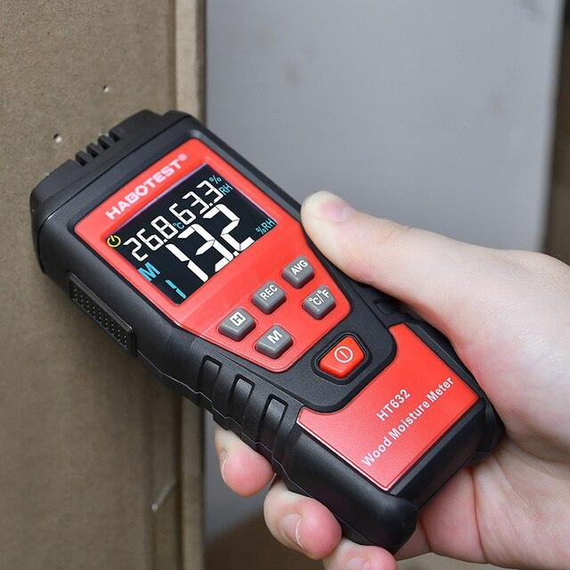 Détecteur dhumidité de bois 0-99.9% numérique humidimètre de bois papier béton ciment testeur dhumidité hygromètre HT632