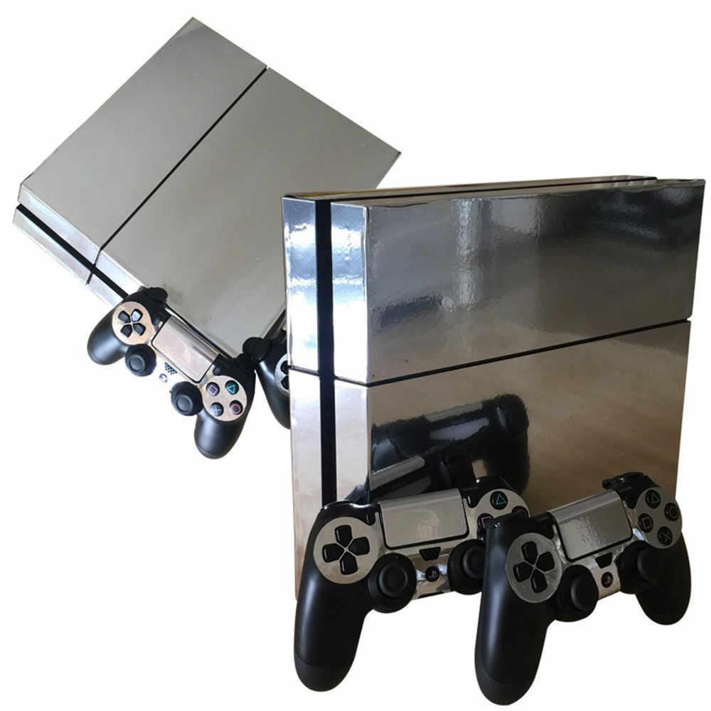 Metel szczotkowane złoto PS4 skórka naklejka naklejka Vinyl dla Sony Playstation 4 konsola i 2 kontrolery PS4 cienka naklejka